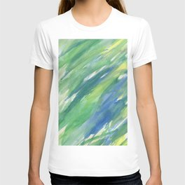 Blue green yellow watercolor hand painted brushstrokes T-shirt