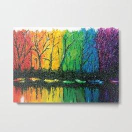 Rainbow Abstract Painting. Woods. Red Yellow Orange Green Blue Purple Metal Print