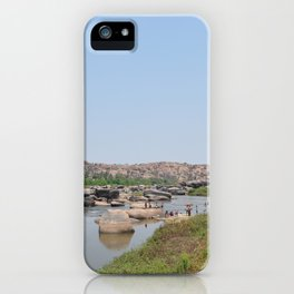 Indian River Tungabhadra in Hampi, State: Karnataka, India in March 2012 iPhone Case