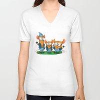 minions V-neck T-shirts featuring Minion Mice by Kiome-Yasha