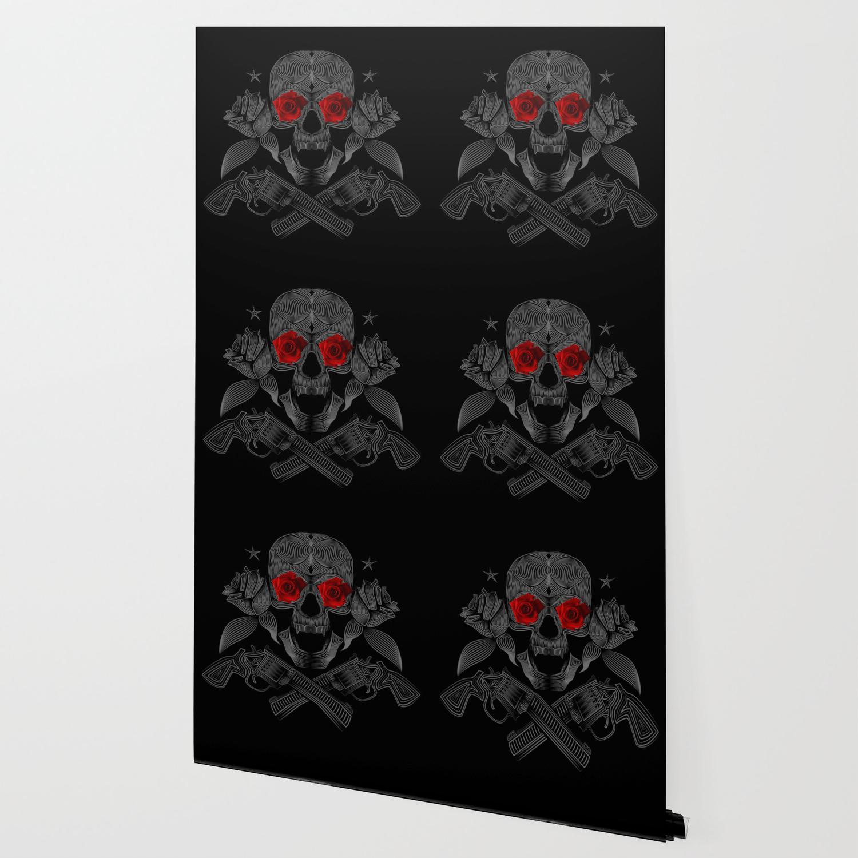Skull Roses And Guns Wallpaper