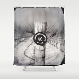 Cabernet - black and white wine photo vineyard Shower Curtain