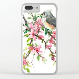Titmouse and Cherry Blossom Clear iPhone Case