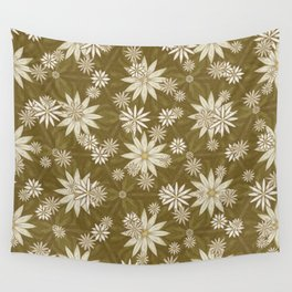Vintage White Flowers Wall Tapestry