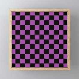 Checkered Purple and Black Framed Mini Art Print