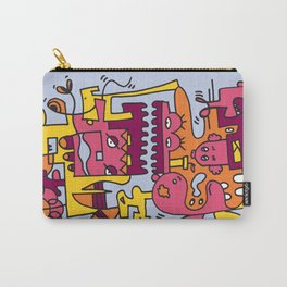 Light Blue Doodle Monster World by Pablo Rodriguez (Pabzoide) Carry-All Pouch