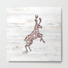 Rustic Woodgrain Folk Art Christmas Winter Nordic Reindeer Metal Print