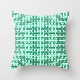 Jade and White Greek Key Pattern Throw Pillow