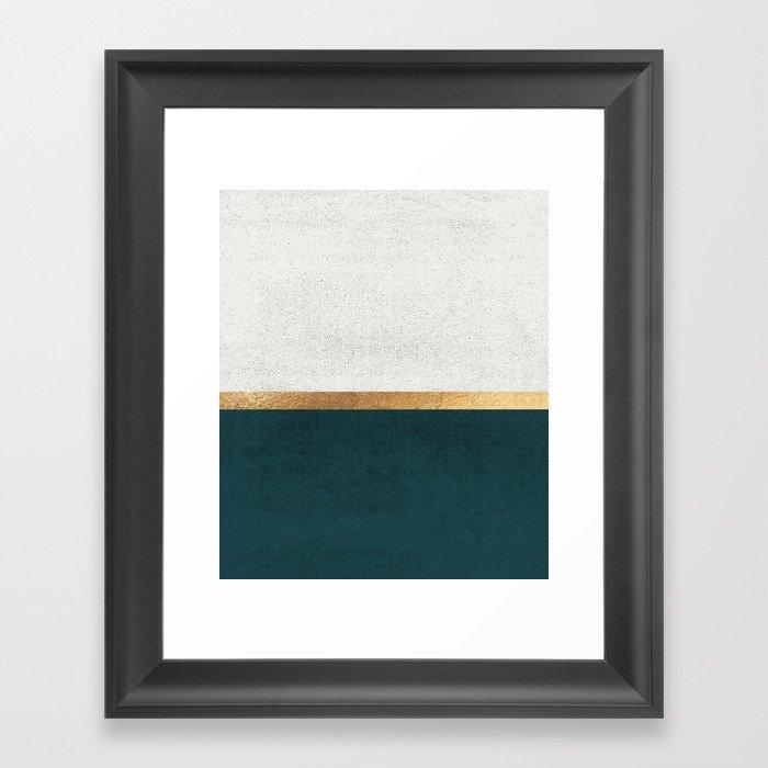 Deep Green, Gold and White Color Block Gerahmter Kunstdruck
