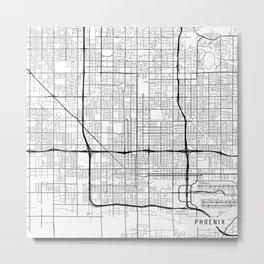 Phoenix Map, USA - Black and White Metal Print