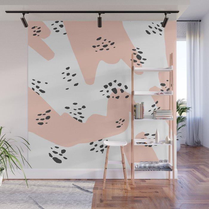 Modern blush pink abstract color block black polka dots illustration pattern Wall Mural