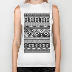 Monochrome Aztec inspired geometric pattern Biker Tank