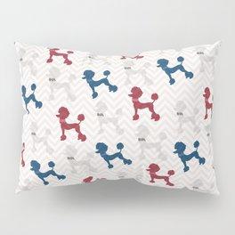 Modern red navy blue gray poodle pastel brown chevron Pillow Sham