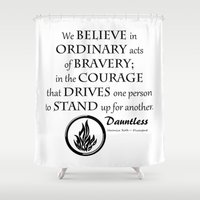 divergent Shower Curtains featuring Dauntless Black Lettering by Covered By Design