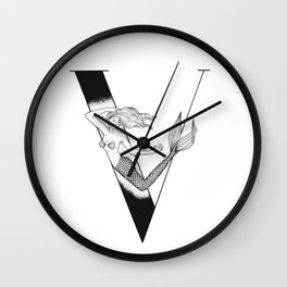Mermaid Alphabet Series - V Wall Clock