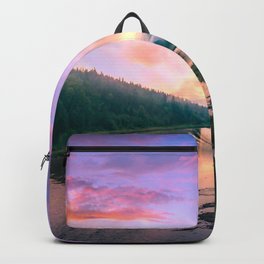 Rainy Sunset Over River Backpack