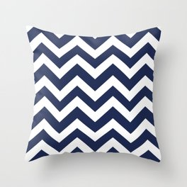Space cadet - blue color - Zigzag Chevron Pattern Throw Pillow