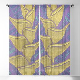 Heliconia, Floral Art, Abstract Botanical Sheer Curtain