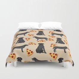 Black Lab pizza cute funny dog breed pet pattern labrador retriever Duvet Cover