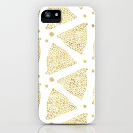 White & Gold Triangles Modern Pattern iPhone Case