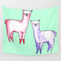 tote bag Wall Tapestries featuring llama tote by Llama Yes