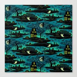 Halloween Night - Fox Fire Green Canvas Print