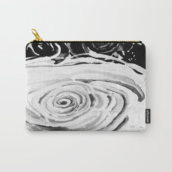 Roses For A Romantic Heart, Black and White Carry-All Pouch