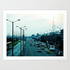Streets, cars and people. Art Print