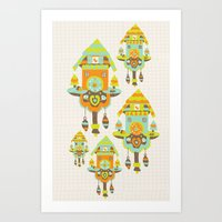 wall clock Art Prints featuring Clock Wall by Leanne Oughton