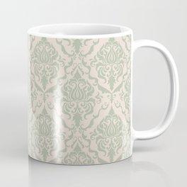 Ivory and Sage Green Damask Pattern Coffee Mug