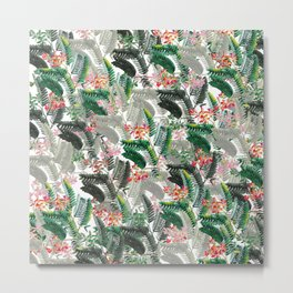 Tropical Leaves with Flowers Metal Print