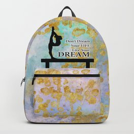 Don't Dream Your Life Live Your Dream in Golden Flakes-Gymnastics Design Backpack