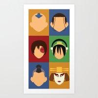 zuko Art Prints featuring Team Avatar by Adrian Mentus
