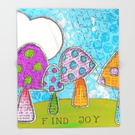 Mushroom Mixed Media Painting in Dyan Reaveley Style with Bright and Vibrant Colors Throw Blanket