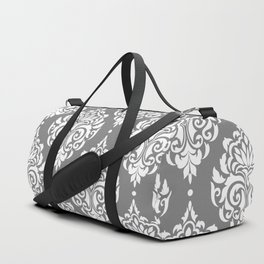 Grey Damask Duffle Bag