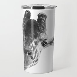 Silly Giraffe B&W // Wild Animal Portrait Cute Zoo Safari Madagascar Wildlife Nursery Ideas Decor Travel Mug