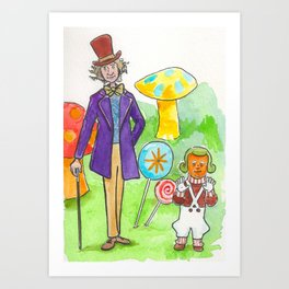 Pure Imagination: Willy Wonka & Oompa Loompa by Michael Richey White Art Print