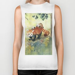 Red Panda Family Biker Tank