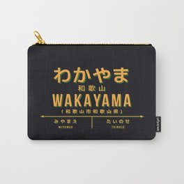 Vintage Japan Train Station Sign - Wakayama City Black Carry-All Pouch