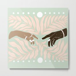 Peaceful Green & Pink Leaves with Hands Illustration Metal Print