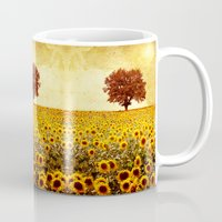 sunflowers Mugs featuring lone tree & sunflowers field by Viviana Gonzalez