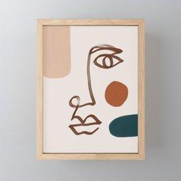 Face Line Art-Abstract Shape Composition Framed Mini Art Print