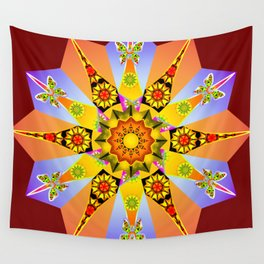 Purple and peach floral mandala Wall Tapestry