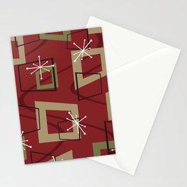 Mid Century Modern Maroon Stationery Cards