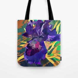 Watercolor Iris Flower with Shadows - Deep Purple Tote Bag