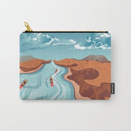 Blue river flowing through the high mountain and rafting people landscape Carry-All Pouch