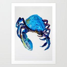 Blue crab illustration, original watercolor, kitchen art Art Print
