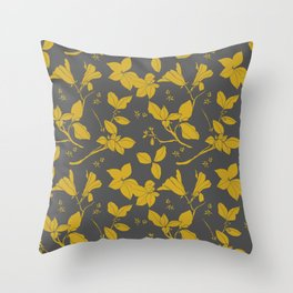 Drawings from Stonecrop Garden, Pattern in Gold & Grey Throw Pillow