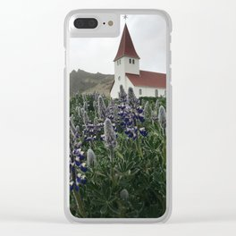 Lupine in Vík, Iceland Clear iPhone Case