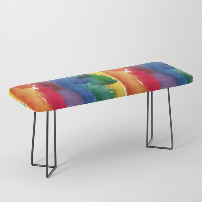 rainbow watercolor Bench